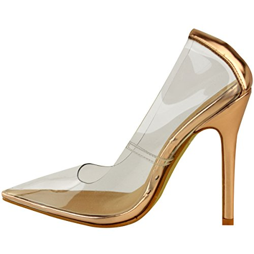 Fashion Thirsty Heelberry® Womens Ladies Perspex Clear Court Shoes Stiletto High Heels Kim K Pumps Size Rose Gold Metallic 7wa1y