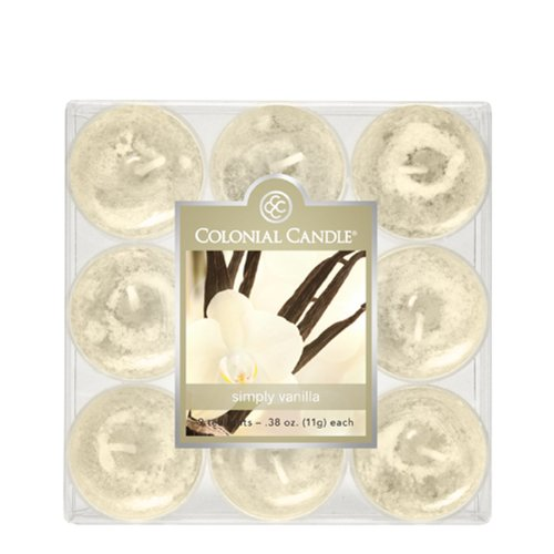 Tealights Candle Colonial (Colonial Candle Simply Vanilla Tealights, Set of 9)