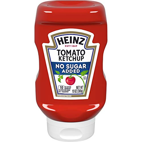 Sugar Topping Muffins - Heinz Ketchup No Added Sugar (13 oz Bottles, Pack of 6)
