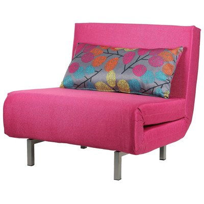 Cortesi Home Convertible Accent Chair Bed, Savion Pink