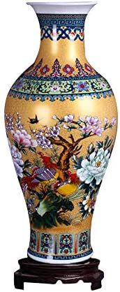 ufengke Jingdezhen Large Fishtail Ceramic Floor Vase,Flower Vase Handmade Home Decorative Vase,Height 18.11″ 46cm ,Golden