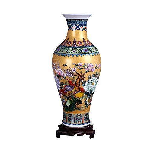 ufengke Jingdezhen Large Fishtail Ceramic Floor Vase,Flower Vase Handmade Home Decorative Vase,Height 18.11