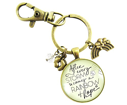Rainbow Baby Jewelry Keychain After Every Storm Comes a Rainbow of Hope Pregnancy Baby Loss Key Ring (With Feet Rings Baby)