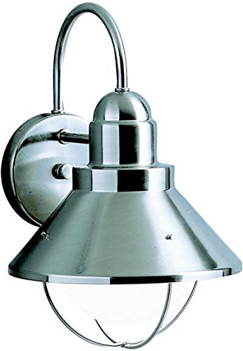 Kichler 9023NI, Seaside Aluminum Outdoor Wall Sconce Lighting, 150 Watts, Brushed Nickel