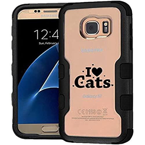 Galaxy S7 Case I Love Cats, Extra Shock-Absorb Clear back panel + Engineered TPU bumper 3 layer protection for Sales