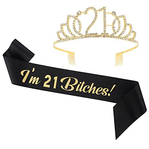Funny 21st Birthday Sash & Tiara Set,Happy 21 Birthday Crown Sash for Women,H-BDAY Funny 21st Birthday Gifts for Women 21st Party Supplies