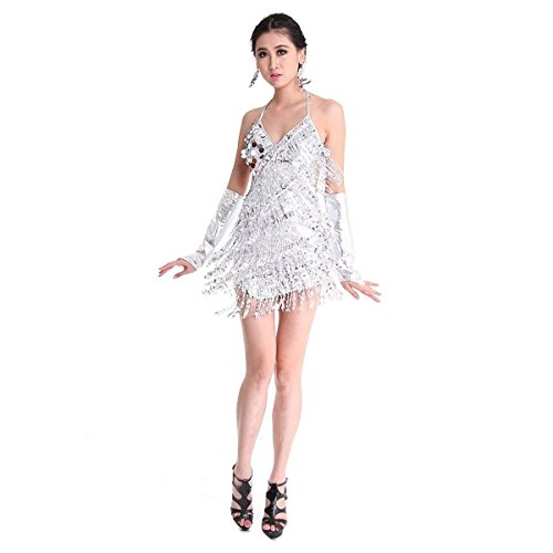 Silver Fringe Dress (Pilot-trade Women's Lady Cocktail Club Wear Party Latin Dance Asymmetric Sequin Fringe Dress Silver)