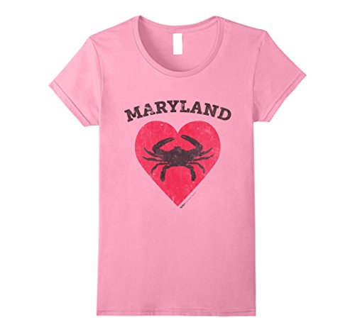 Womens Vintage Maryland Heart Blue Crab T Shirt For Men  Women Kids Medium Pink