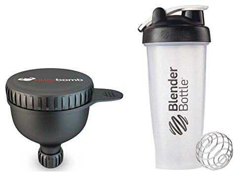 Protein Supplement Powder Dispenser Funnel Storage Container To Go Fill N Go Screw On + Best Bodybuilding Shaker Cup, 28 Oz Blender Shake Bottle With Blender Ball Mixer Fitness Workout Small Water