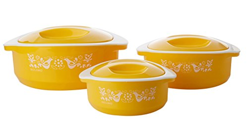 Solimo Sparkle Insulated Casseroles Set with Roti Basket, 3-Piece, Yellow
