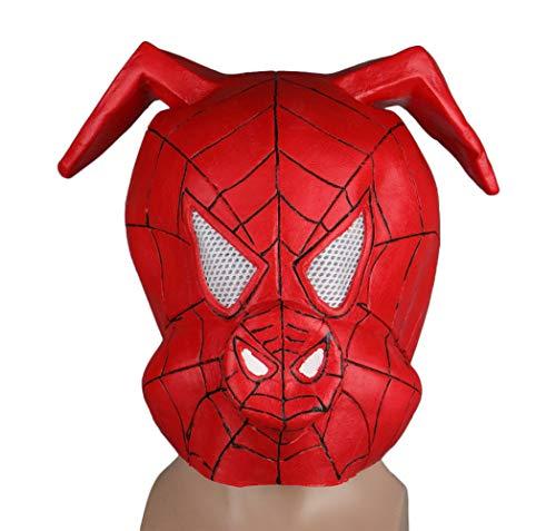 Gankchen Latex Spider-Ham Mask Spider Pig Helmet Latex Masque Red]()