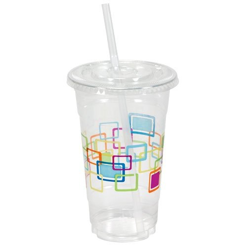 Party Dimensions Nicole 10 Count Deco Plastic Printed Cups with Lids and Straws, 24-Ounce, (Printed Plastic Cups)