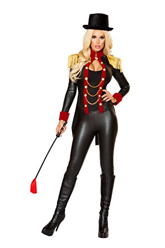 Fest Threads 2 PC Circus Ringleader Lady Black & Red Jumpsuit w/Top Hat Party Costume ()