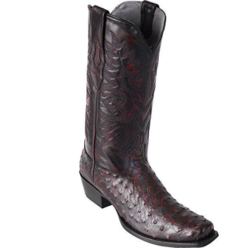 Original Black Cherry Ostrich Skin Square-Toe Boot -
