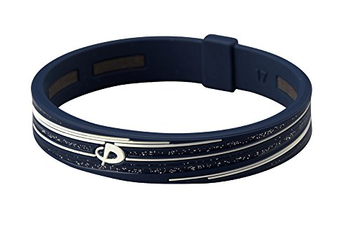 (PHITEN Slashline Titanium Bracelet, Navy/White, 17cm (6.7