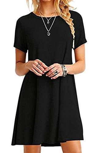 YMING Womens Casual Loose Summer Mini Dress Solid Color Short Sleeve Plus Size Dress