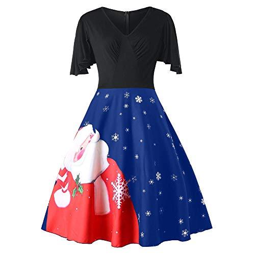 kaifongfu Plus Size Swing Dress Women V-Neck Christmas