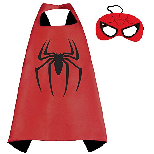 [halloween costumes for kids - Kids Superhero Capes & Mask Costume Capes For Kids Superman Spiderman Superhero Cape for kids Halloween Birthday Party (Red] (Best Nerd Girl Halloween Costume)