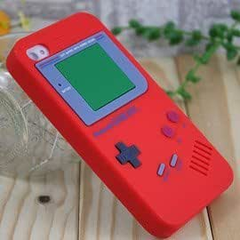 Red Iphone 4 & 4S Silicone Gameboy Case w/Free Screen Protector