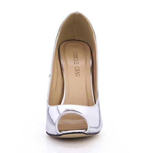 Alto scarpe partito sexy A Toe Argento Spillo Tacco Da Metallo pompe peep patent Chmile tacco Chau Donna moda AfnxqY55wS