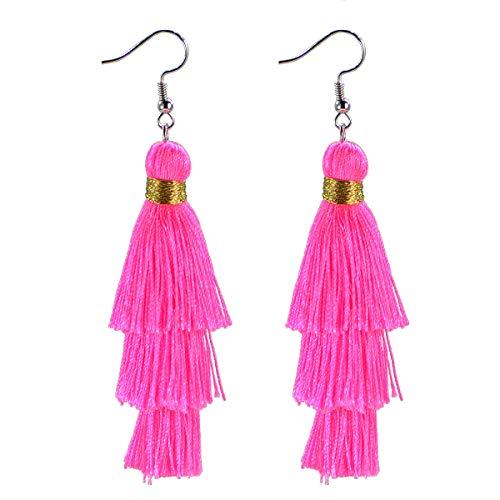 AD Beads Fashion Charm Crystal Silk Tassel 3 Layers Fan Fringe Dangle Earrings (27 Hot Pink)
