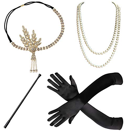 BABEYOND 1920s Flapper Gatsby Costume Accessories Set 20s Flapper Headband Pearl Necklace Gloves Cigarette Holder (Set-23) -