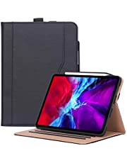 ProCase iPad Pro 12.9 Case 4th Gen 2020 / 3rd Gen 2018, Leather Stand Folio Cover Case with Pencil Holder & Strap [Support Apple Pencil 2 Charging] for iPad Pro 12.9 4th Gen 2020 / 3rd Gen 2018 –Black