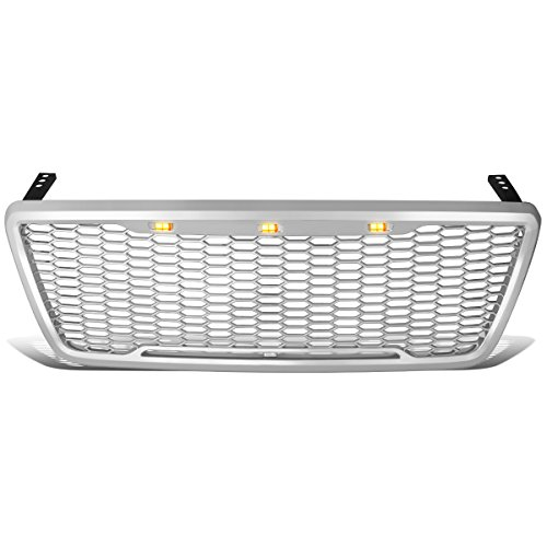 Custom Pickup Truck Parts - DNA Motoring GRL-F1504-MESH-CH Chrome Mesh Front Grille w/Shell with LED [For 04-08 Ford F150]