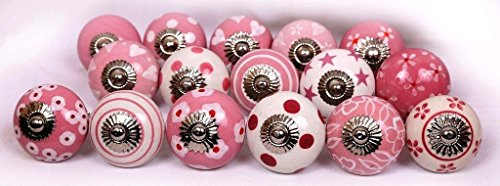 Glitknob 10 Knobs Pink & White Hand Painted Ceramic Knobs Cabinet Drawer Pull