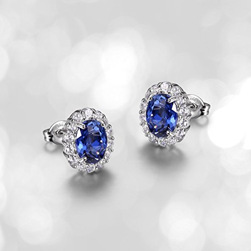 Sterling Silver Gemstone and Created White Sapphire Halo Oval Stud Earrings