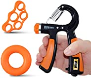 INNOPICS Hand Grip Strengthener Forearm Trainer Set, 3-In-1 Adjustable and Counting Hand Gripper with Grip Rin
