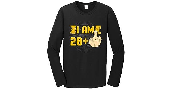 c1328b30b 21st Birthday Shirt for Men - I Am 20 Plus Middle Finger 21 Years Old Long  Sleeve T-Shirt | Amazon.com