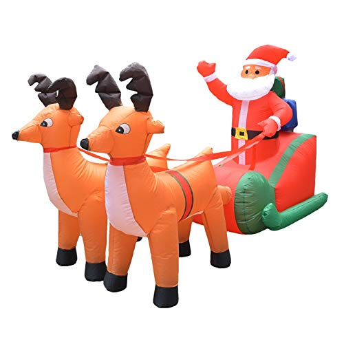 StrongLife Inflatable Bouncers - 210cm Giant Inflatable Santa Claus Double Deer Sled LED Lighted Blows Up Fun Toys Children Halloween Party Props 1 PCs]()