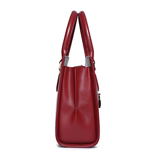 Tote Bags Handle Red Leather small Purse Shoulder Handbags Top Vintage Elegant Satchel Women Kadell Beige wApXqHX