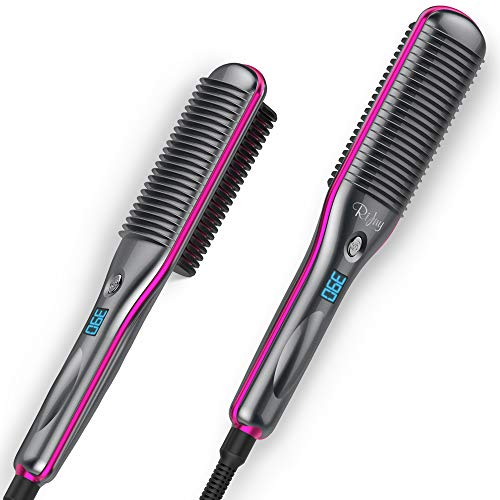 Rifny Hair Straightener Brush, Fast Ceramic Heating Hair Straightening and Curler Combo with Anti Scald Featured Salon Hair Artist Professional Natural Straight Curly Hair Styling (S10)