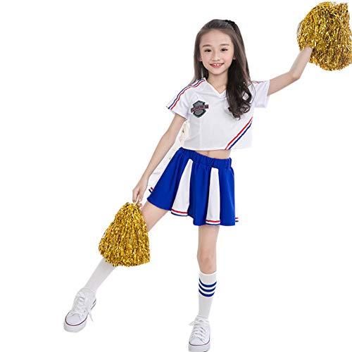 Girls School Cheerleader Cheerleading Costume Uniform Carnival Party Halloween Costume Dress Mini Skirt with 2 Pompoms (Height 120-130cm/47-51inch, A) -