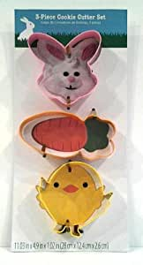 Easter Holiday 3 Piece Cookie Cutter Set: Bunny, Carrot and Chick