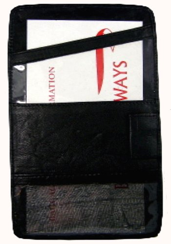 Leather boarding pass holder travel id passport