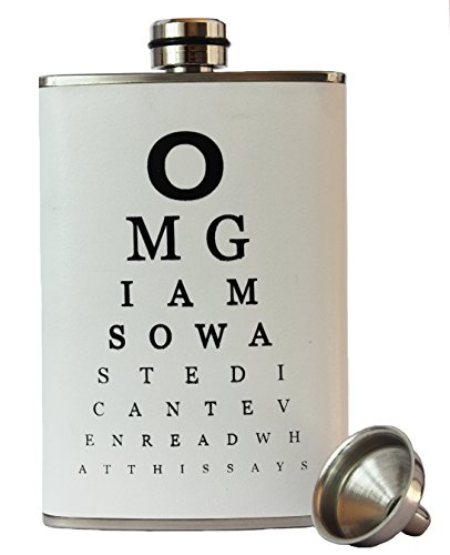 8oz Stainless Steel Primo 18/8 #304 Funny Eye Test Chart Premium/Heavy Duty Hip Flask Gift Set - Includes Funnel and Gift Box