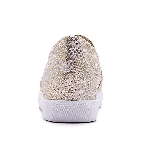 Low Toe AllhqFashion Assorted Shoes Pull PU on Womens Heels Gold Round Pumps Color rzwzxqtp