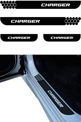 Dodge Charger Door Sill Guard Decal | Door Entry Protector Vinyl Sticker | No Background Scuff Plate Protection Cover fits 2006 2007 2008 2009 2010 2011 2012 2013 2014 2015 2016 2017 2018 2019 models