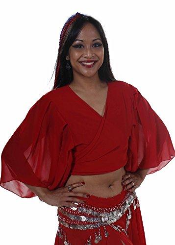 Belly Dance Chiffon Choli Top | Pera Pastel (ONE SIZE, Red)