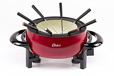 Oster Titanium Infused DuraCeramic Fondue Pot, 3 Quart, Eggshell/Red (FPSTFN7700R-TECO)