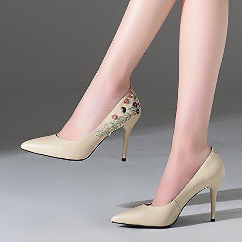 vadxpt Beige Femme Vaneel 9 B Brodé nbsp;pointuCM Chaussures Bout sur Escarpins Glisser EwUdUqvpWr