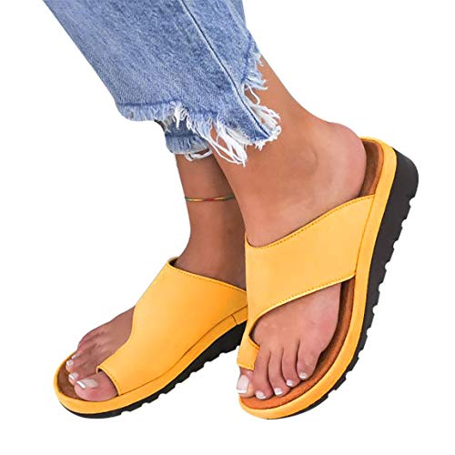 - softome Women's Wedge Slides Sandals Flip Flops Toe Ring Side Cutout Slippers Yellow