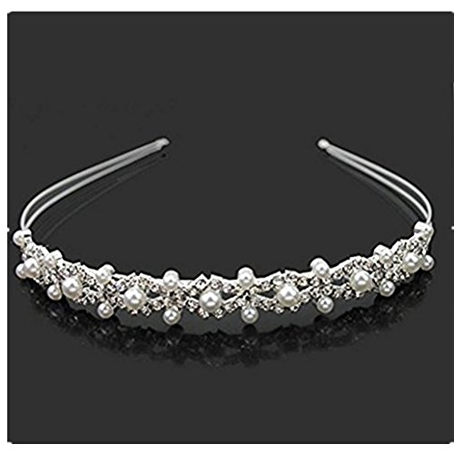Vemonllas Wedding Party Bridal Flower Girl Double Faux Pearl Crown Headband Tiara ()