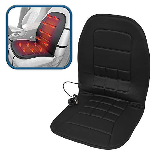 ComfyThrones Car Seat Cushion Warmer 12V w/ 3 Temperatures - Soft Padded Velour - Instant Heat Seat Cushion for Car (Solid Black)