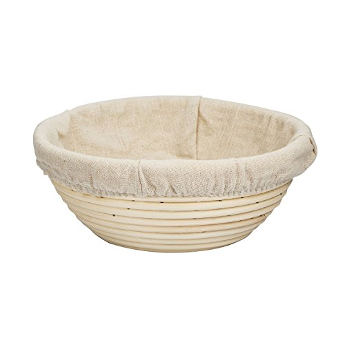 8.5 Inch Round Bread Proofing Basket Banneton Brotform with Linen Liner Combo by BetterJonny