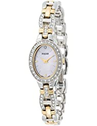 Pulsar Womens PEGA91 Crystal Accented Dress Two-Tone Pink Mother of Pearl Watch