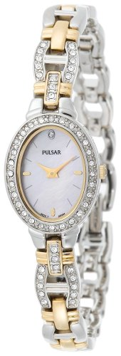 Pulsar Women's PEGA91 Crystal Accented Dress Two-Tone Pink Mother of Pearl Watch